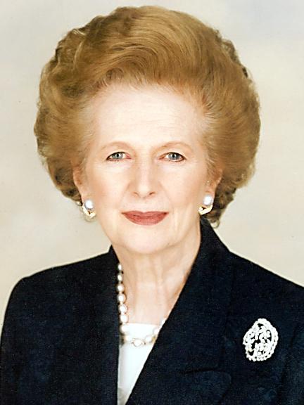 Lady Margaret Thatcher, former British Prime Minister