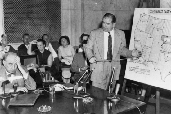 Joseph N. Welch (left) being questioned by Senator McCarthy, June 9, 1954.